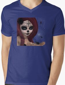 Black Widow Sugar Doll Mens V-Neck T-Shirt