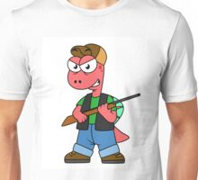 Illustration of a Spinosaurus hunter with gun. Unisex T-Shirt