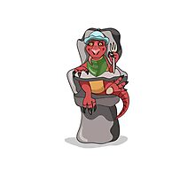 Illustration of a baby Tyrannosaurus Rex sitting in a high chair. Photographic Print