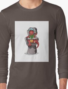 Illustration of a baby Tyrannosaurus Rex sitting in a high chair. Long Sleeve T-Shirt