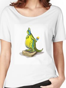 Illustration of a Lambeosaurus standing on a weight scale. Women's Relaxed Fit T-Shirt