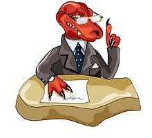 Illustration of a Tyrannosaurus Rex boss sitting at a desk. by StocktrekImages