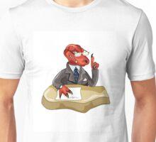 Illustration of a Tyrannosaurus Rex boss sitting at a desk. Unisex T-Shirt