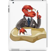 Illustration of a Tyrannosaurus Rex boss sitting at a desk. iPad Case/Skin