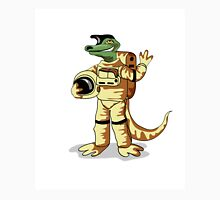Illustration of an Iguanodon dressed in a cosmonaut spacesuit. Unisex T-Shirt