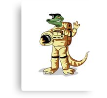 Illustration of an Iguanodon dressed in a cosmonaut spacesuit. Canvas Print