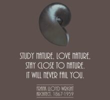 Study nature, love nature, stay close to nature, Frank Lloyd Wright quote Baby Tee
