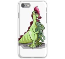 Illustration of a female Hadrosaurus holding a doll. iPhone Case/Skin