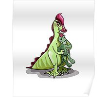 Illustration of a female Hadrosaurus holding a doll. Poster