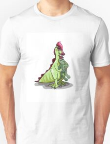 Illustration of a female Hadrosaurus holding a doll. T-Shirt