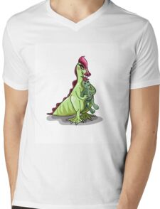 Illustration of a female Hadrosaurus holding a doll. Mens V-Neck T-Shirt