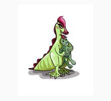 Illustration of a female Hadrosaurus holding a doll. Unisex T-Shirt