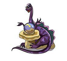Illustration of a Plateosaurus fortune teller. by StocktrekImages