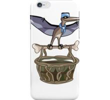Illustration of a Pteranodon carrying a basket, representing dino airlines. iPhone Case/Skin