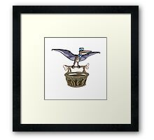 Illustration of a Pteranodon carrying a basket, representing dino airlines. Framed Print