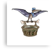 Illustration of a Pteranodon carrying a basket, representing dino airlines. Canvas Print