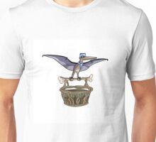 Illustration of a Pteranodon carrying a basket, representing dino airlines. Unisex T-Shirt