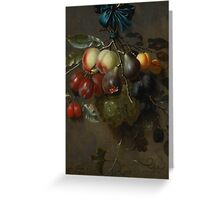 Laurens Craen A STILL LIFE WITH FRUIT HANGING FROM A BLUE RIBBON TIED TO A HOOK Greeting Card