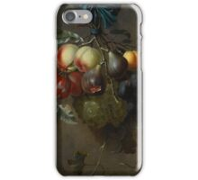 Laurens Craen A STILL LIFE WITH FRUIT HANGING FROM A BLUE RIBBON TIED TO A HOOK iPhone Case/Skin