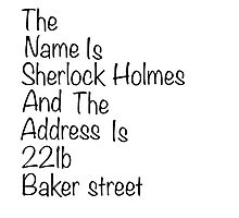 The names Sherlock Holmes Photographic Print