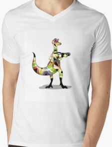 Illustration of an Iguanodon photographer. Mens V-Neck T-Shirt
