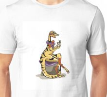 Illustration of an Iguanodon polishing her nails. Unisex T-Shirt