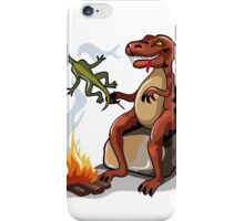 Illustration of a Tyrannosaurus Rex cooking food over a campfire. iPhone Case/Skin