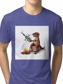 Illustration of a Tyrannosaurus Rex cooking food over a campfire. Tri-blend T-Shirt