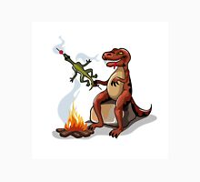 Illustration of a Tyrannosaurus Rex cooking food over a campfire. Unisex T-Shirt