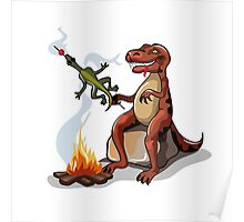 Illustration of a Tyrannosaurus Rex cooking food over a campfire. Poster
