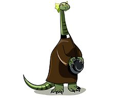 Illustration of a Plateosaurus dressed as a priest. by StocktrekImages