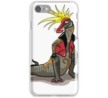 Illustration of a Hadrosaurus dinosaur dressed as a punk. iPhone Case/Skin