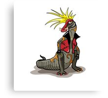 Illustration of a Hadrosaurus dinosaur dressed as a punk. Canvas Print