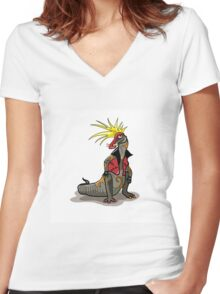 Illustration of a Hadrosaurus dinosaur dressed as a punk. Women's Fitted V-Neck T-Shirt