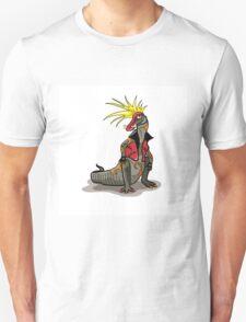 Illustration of a Hadrosaurus dinosaur dressed as a punk. Unisex T-Shirt