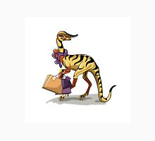 Illustration of an Iguanodon with shopping bags. Unisex T-Shirt