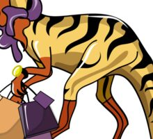 Illustration of an Iguanodon with shopping bags. Sticker
