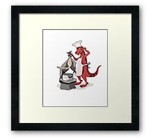 Illustration of a Tyrannosaurus Rex chef cooking. Framed Print