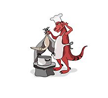 Illustration of a Tyrannosaurus Rex chef cooking. Photographic Print