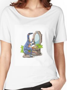 Illustration of an Iguanodon putting on make-up. Women's Relaxed Fit T-Shirt