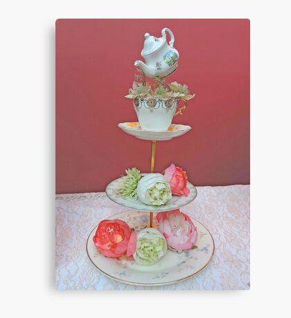 Tea & Peonies  Canvas Print