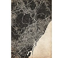 Barcelona map ink lines Photographic Print