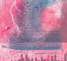 Town and the storm, pink, gray, blue by jblitlemonsters
