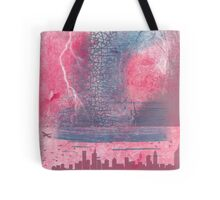 Town and the storm, pink, gray, blue Tote Bag