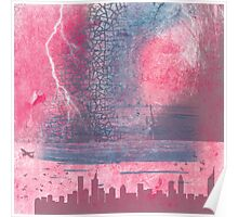 Town and the storm, pink, gray, blue Poster