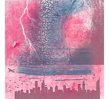 Town and the storm, pink, gray, blue Photographic Print