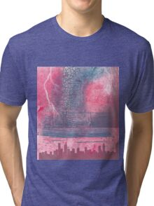 Town and the storm, pink, gray, blue Tri-blend T-Shirt