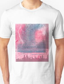 Town and the storm, pink, gray, blue T-Shirt
