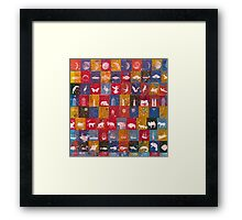 Life in the squares, colors, animals, planes, spaceships, ships Framed Print