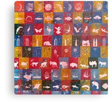 Life in the squares, colors, animals, planes, spaceships, ships Metal Print